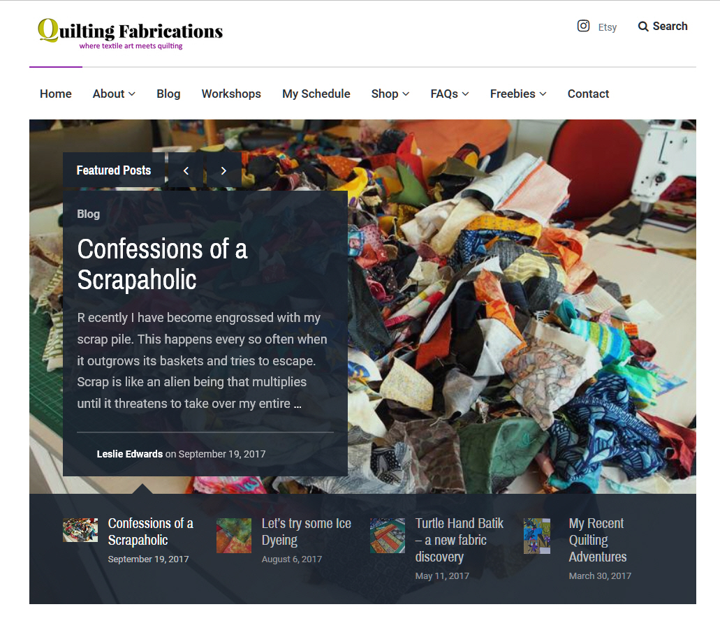 Quilting Fabrications website